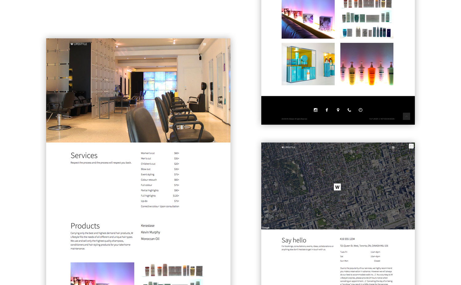 Multiple pages from the W Lifestyle responsive website